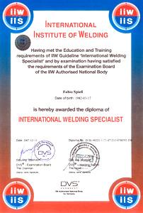 Peter Spiess Metallverarbeitung, Fabio Spiess International Welding Specialist IIW