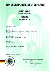 Patenturkunde 198 33 229 - Peter Spiess Metallverarbeitung, Schweissverfahren für Wellrohre und Metallschlauch aus Wellrohr
